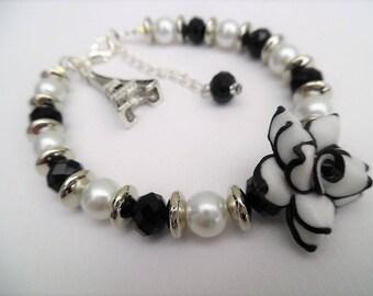 Black and White Paris Theme Charm Bracelet with Rose Flower, Pearl Bracelet, Single Strand Bracelet, Unique Jewelry, Floral Bracelet