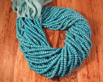 Turquoise Beads, Small Faceted Rondelle Gemstones, 3mm - 3.5mm, 13 Inch Strand, About 117 Stones (R-Tu1)