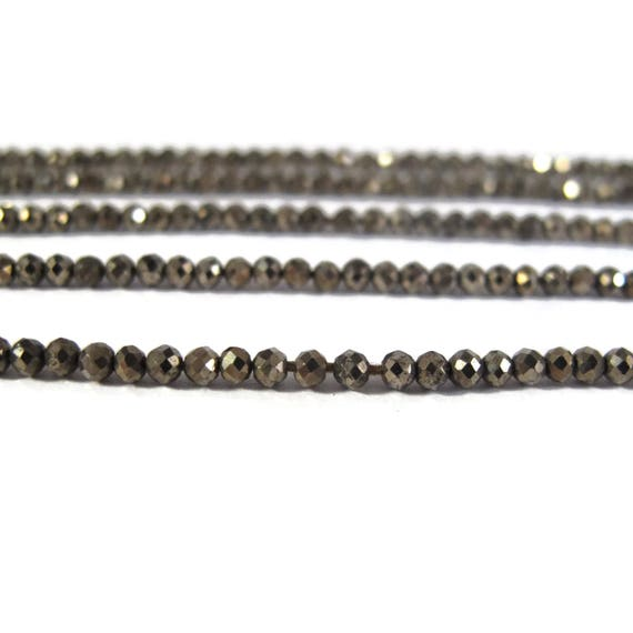 Tiny Beauties, Natural Pyrite Beads, Small 2mm Rondelles, 6.5 Inch Strand, Fools Gold Rondelle Beads, 100+ Stones for Making Jewelry (R-Py2)