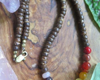 Crystal Rainbow Necklace - Kids Jewelry OR Women's Choker Collar Necklace - Ombre Chakra - Funky Bohemian Gemstone - Beaded Boho Hippy