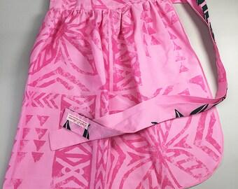 Half Apron - Vintage Pin Up Skirt Style - Pink Tapa Cloth