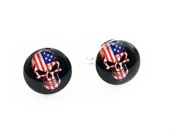 Skull Cufflinks, American Flag Skull, Day of the Dead, Sugar Skull, Weddings, Fiance Gift, Mens Accessories, Handmade Cufflinks, Patriotic