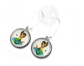 Mermaid Earrings, Siren Jewelry, Dangle Earrings, Gift for her, Handmade Jewelry, Vintage Mermaid, Ocean Jewelry, Beach, Mermaids