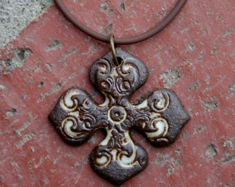 Bohemian Cross Stoneware Pendant 2 | focal pendant | jewelry supplies