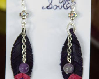 Purple Glitter Leather Feather Earrings