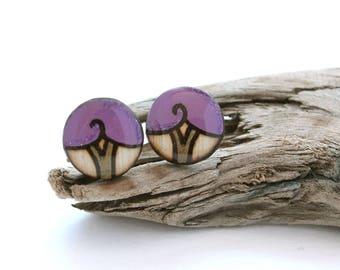 Purple Tree Wood Circle Stud Earrings, Hypoallergenic Studs, Tree Earrings, Wood Burned, Lightweight Everyday Earrings, For Sensitive Ears
