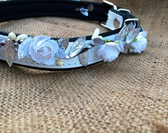 dog wedding attire - rustic wedding dog - flower dog collar for weddings - girl dog collar - dog flower crown - dog flower girl -dog wedding