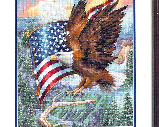 Flight of Freedom 35077 Eagle US Flag Dimensions Gold Collection 35077 counted cross stitch Needlework Kit complete Finished size 11 X 14