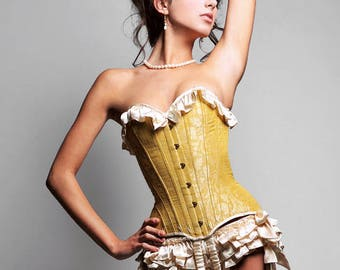 Sasha overbust corset with garters - steel-boned Edwardian showgirl corsets, gold brocade silk corsetry with satin ruffles, S curve S bend