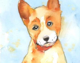 Corgi Art Print - Puppy Dog Art Print - Children's Dog Nursery Art - Puppy Wall Art - Year of the Dog