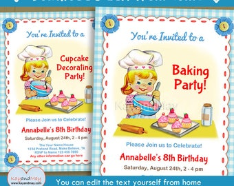 Baking Party invitation - cute kids Cupcake decorating birthday party invite - blonde girl - INSTANT DOWNLOAD P-67 - with editable text