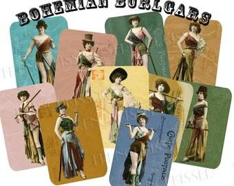 Bohemian Burglars Casino de Paris French Carte Postale Series Women in Funky Costumes Two 8x10 Digi Pages 16 ATCs