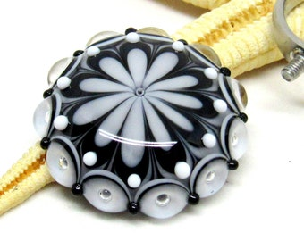 SMAUGGS handmade ring top (1p, 28mm x 10mm), glass, black, white with 2,5mm nut
