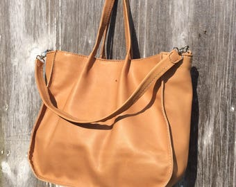 Soft Camel Leather Tote Bag with Detachable Shoulder Strap by Stacy Leigh