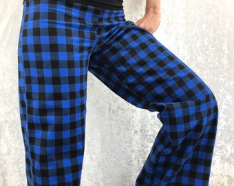 Blue Plaid - 100% Cotton Flannel - High Waistband in Bamboo- Party Pajamas by So-Fine