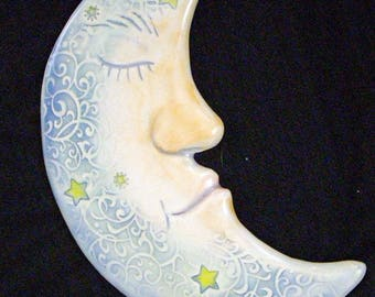 Ceramic Stoneware Moon wall hanging for home or garden