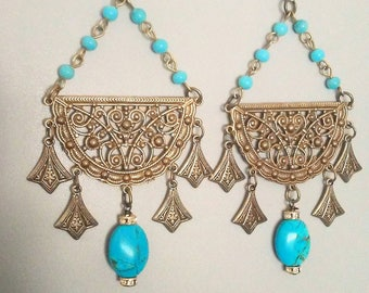 Genuine Turquoise Earrings Pave Crystals Bohemian Jewelry Belly Dance Flamenco Style Gypsy Antique Gold Bronze  By Red Gypsy Jewelry