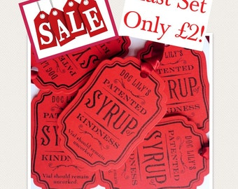 Gift Tags, sale gift tags, friendship tags, red tags, special offer, amaretto tags