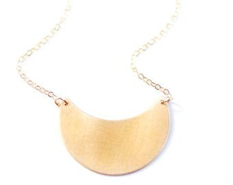 Minimalist Crescent Moon Necklace | Brass Necklace | 14k Gold Filled Necklace | Sterling Silver Necklace | Crescent Necklace