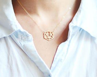 Geometric Gem Necklace | Brass Necklace | 14k Gold Filled Necklace | Sterling Silver Necklace | Geometric Necklace
