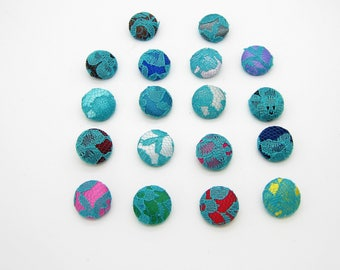 Lot of 10, Turquoise Lace Satin Buttons with your Color of Choice & Size