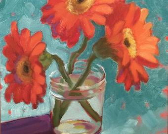 "Gerbera Daisies in a Jar Still Life Painting 6 x 6"""