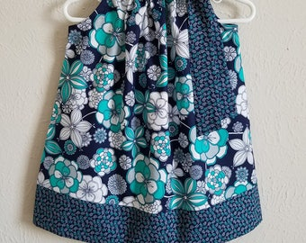 Pillowcase Dress with Flowers Girls Dresses Floral Dress Kids Clothes Navy Teal Grey Baby Dresses Toddler Dresses for Spring Dresses