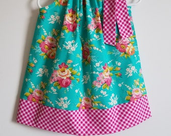 Easter Dress Pillowcase Dress with Flowers and Gingham Floral Dresses Spring Dresses Kids Clothes Girls Dresses Toddler Dresses with Flowers