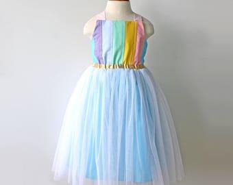 Rainbow Birthday Dress, Girls Rainbow Dress, Toddler Rainbow Birthday, Rainbow Unicorn Dress, Pastel Rainbow Dress, Aqua Gold Tulle Dress