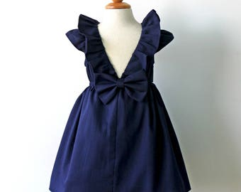 Midnight Navy Dress for Toddler and Girl, Flower Girl Dress, Birthday Party Dress, Navy Flower Girl Dress, Navy Wedding, Dark Blue Dress
