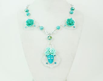 Tiffany Blue SUGAR SKULL and ROSES - Blue Skull and Roses on Hearts Chandelier Pendant Necklace