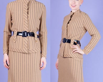 NWT Vtg 60s Mod Gino Paoli Italian Stripe Knit Skirt Suit+JACKET Wool XS