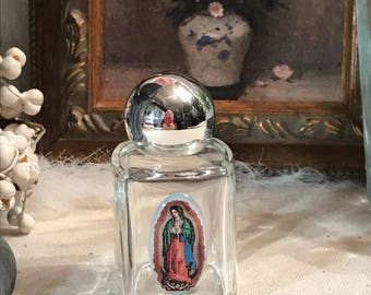 Vintage Holy Our Lady of Guadalupe Catholic Blessed Virgin Mary glass water bottle Holy Spirit Catholic religious gift