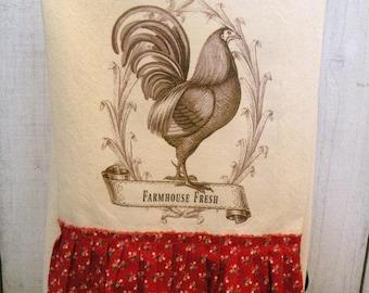 Rooster Farmhouse Fresh Kitchen dish towel Tattered ruffles Ivory cotton  Ecs RDT FVG team OFG team SVFteam