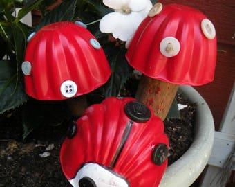 Toadstool Mushroom Lady bug plant pot garden stakes repurposed vintage elements Set of Three