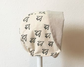 Black and White Baby Bonnet Reversible Linen