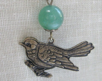 Bird necklace, gemstone, green adventurine, brass bird charm, nature jewelry, woodland