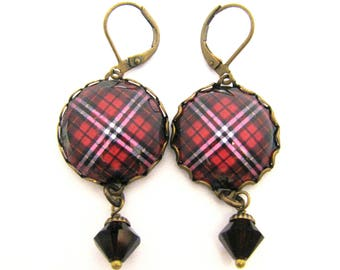 Scottish Tartan Jewelry - Ancient Romance Series - Little Clan Tartan Earrings with Sapphire Swarovski Crystal Charms