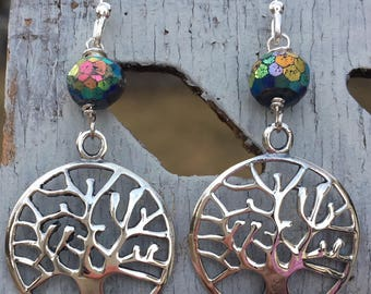 Sterling Silver Tree of Life Mystic Lapis Earrings