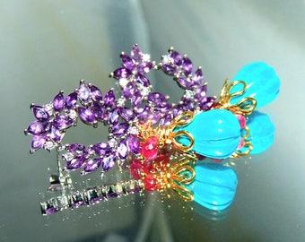 Dark Amethyst Turquoise Red Sapphire Briolette Gemstone Earrings Vermeil Sterling Silver
