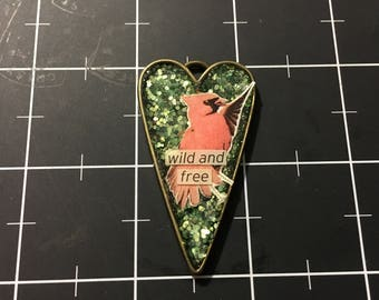 Wild and Free, Red Cardinal Pendant, 50% goes to the charity of the month