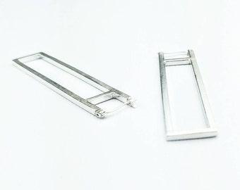Elongated rectangle hoops, urban geometric jewelry, long hoop earrings, slow fashion jewelry, silver statement earrings, Wilshire Tower Hoop