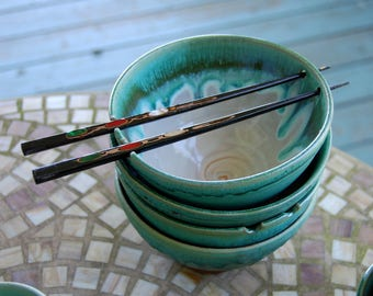 Noodle Bowl or Ramen Bowl in Turquoise and White - Made to Order