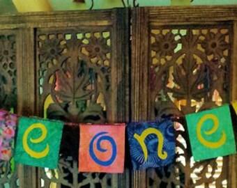 Gypsy Hippie Peace on Earth Flag Garland Rainbow Colors Batik Boho