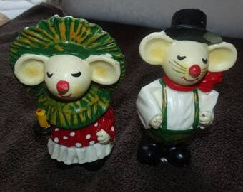 Mr. & Mrs. Christmas Mice Candles, Christmas Eve Candles, Mouse, Mice, Rodent Candle, Gurley like wax candles