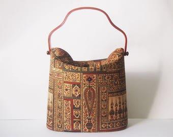 The Collins Bag / Vintage 1950s Tapestry Handbag / 50s Motif Purse