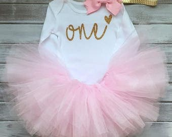 First Birthday Outfit Girl, 1st Birthday Outfit, First Birthday , First Birthday Tutu, 1st Birthday Pettiskirt 3 pc set