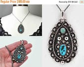 Vintage Mexico Sterling Silver Morenci Turquoise Pendant Necklace, Blue, Green, Signed, Eagle 57, Intricate Beauty! #c421 b104b