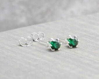 Sterling Silver Emerald Stud Earrings - May Birthstone Earrings - 4mm Studs - May Birthday - Dark Green Earrings - Christmas Gift - Birthday