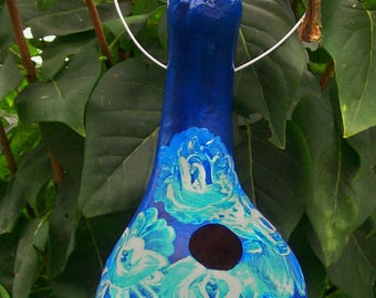 Blue Roses:   Handpainted Gourd Birdhouse